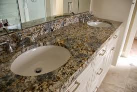 Granite Bathroom Vanity by Terra Grey Blue Flower Granite Bathroom Vanity With White