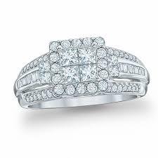 10k wedding ring 1 ct t w princess cut engagement ring in 10k white
