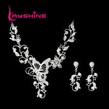 butterfly necklace aliexpress images Bridal silver color jewelry sets silver color leaf hollow out jpg