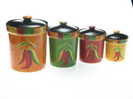 Green Kitchen Canister Set Certified International Caliente By Joy Hall 4 Piece Kitchen
