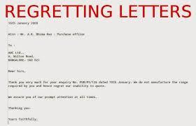 Regret Letter Unable To Join regret letter business the letter sle inside regret letter for