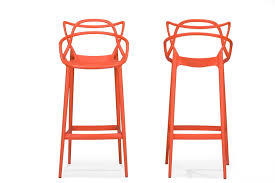 Baxton Studio Bar Stools Baxton Studio Electron Plastic Contemporary Bar Stool Set Of 2