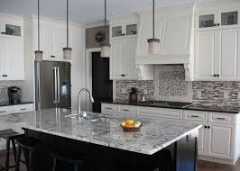 White Ice Granite Countertops White Cabinets Modern Backsplash - Kitchen modern backsplash