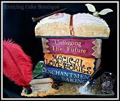 harry potter gothic 3d wedding cake stacked books open book with