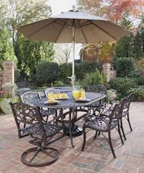 Outdoor Table Umbrella Furniture Ideas Patio Dining Set With Umbrella And Cream Cushion