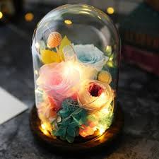 shabby chic crystal ring holder images Glass roses led night light