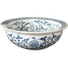 shop loft fire clay blue and white vessel sink at lowes com