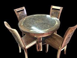 Teak Wood Dining Tables 5 Piece Teak Wood Dining Set W Glass Top Primefurniturehouston Com