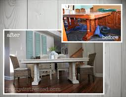 Refinished Kitchen Table Pretty Distressed Eleanor U0027s Table Before U0026 After