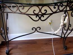 table marvellous 28 wrought iron sofa table this console marble