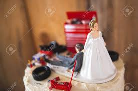 mechanic cake topper wedding cake topper with mechanic groom 3 stock photo