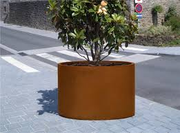 steel planter cor ten steel thermo lacquered steel round