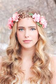 flower headpiece peachy floral hair crown woodland flower crown bridal