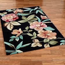 Area Rugs Tropical Flor Bloom Black Tropical Area Rugs