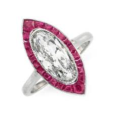 fd gallery an art deco ruby and diamond navette ring circa 1920