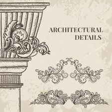 antique and baroque cartouche ornaments and classic style column