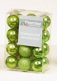 24 x apple green lime shatterproof tree baubles