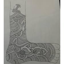 pencil sketch of bridal henna mehndi designs for leg step by