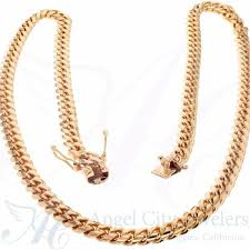 gold solid necklace images Solid 10k rose gold cuban link chain necklace jpg