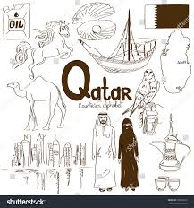 fun sketch collection qatar icons countries stock vector 208302379