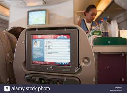 emirates inflight shopping inflight entertainment in a seat back on an emirates flight stock