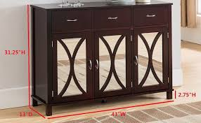 espresso mirrored wood buffet server cabinet console entryway