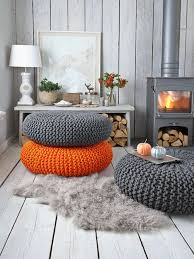 furniture cool living room design with fireplace and knit pouf