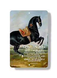 classical dressage barn art metal sign black horse equestrian