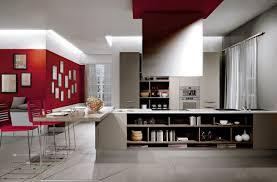 Modern Sleek Design by Kitchen Red Accent Wall Nice Minimalist Kitchen Design Nice