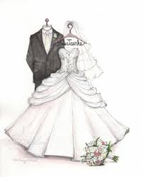 wedding dress sketch for first anniversary gift from the groom to