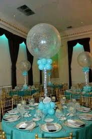 Tiffany Color Party Decorations Tiffany Blue U0026 White Balloon Centerpieces With Balloon Bases
