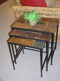 3 piece nesting tables 4d concepts 3 piece nesting table set with slate tops 601609