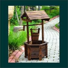 wooden wishing well garden feature decor fir wood timber