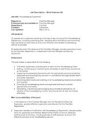 Supervisor Job Description For Resume by Job Housekeeping Job Description Resume