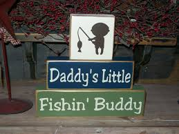Fish Nursery Decor Fishing Decor Fishing Buddy Primitive Wood Sign Blocks