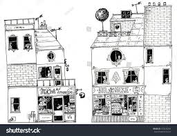French Cottage Floor Plans by Illustration Houses French House Cheese Shop Stock Illustration