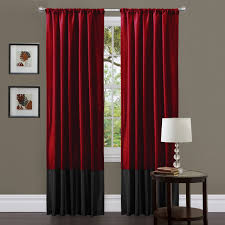 furniture extra long curtains with red curtain and standing lamp