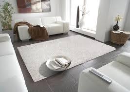 Teppich Boden Schlafzimmer Hochflor Teppich Mono Perlweiss 294