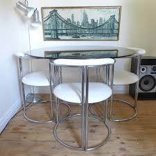 White Faux Leather Chair Vintage Chrome U0026 Smoked Glass Dining Table And White Faux Leather