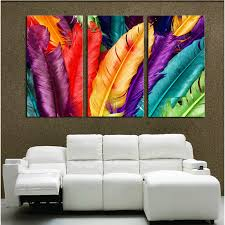 decor painting 3 piece fresh look color feather modern home wall decor painting