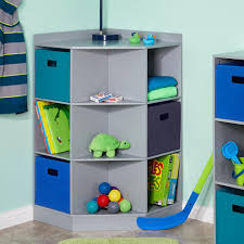 riverridge kids 6 cubby 3 shelf corner cabinet in gray 02 145