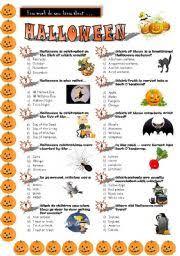 esl worksheets for beginners halloween quiz