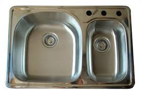 Kitchen Sinks Drop In Double Bowl by Alpha International D 321 Drop In 70 30 Double Bowl Stainless
