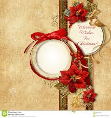 merry christmas vintage card with frame u0026poinsettia royalty free