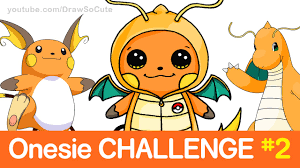 Challenge How To Challenge How To Draw Raichu In Dragonite Onesie Step By