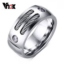 mens rings with images Vnox men 39 s ring stainless steel punk rock ring with wire cubic jpg
