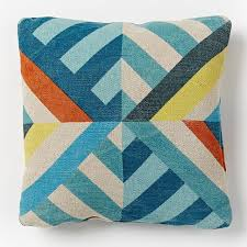 triangle stripes indoor outdoor pillow blue teal west elm