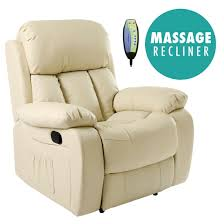 Cream Leather Club Chair Chester Heated Leather Massage Recliner Chair Sofa Lounge Gaming