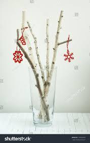 environmentalist christmas tree white birch twigs stock photo