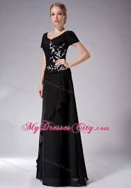 empire scoop floor length chiffon mother of the bride dress with